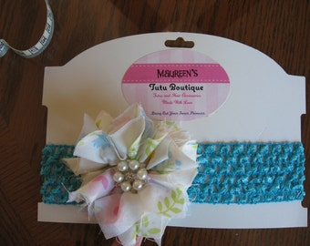 Headband*Crochet*Elastic*Shabby Bow*Floral*Turquoise*Embellishment*Preemie*Baby*Infant*Pearl*Crystal*Adorable*Unique*Fashionable*