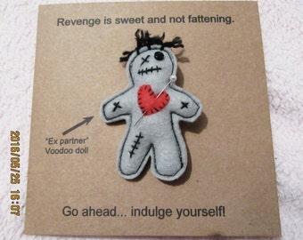 Ex partner voodoo doll brooch pin greeting card