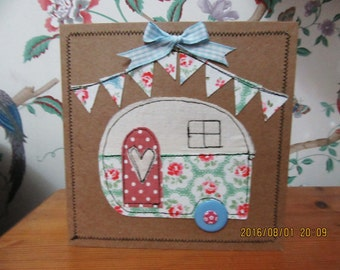 Hand crafted machine sewn greetings birthday card with Cath Kidston fabric