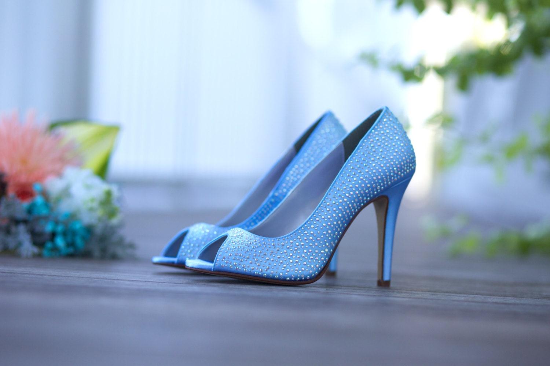 Blue Crystal Bridal Shoes Brides' Shoes Blue Bridal