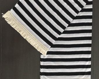 Black and White Striped Fringe Blanket