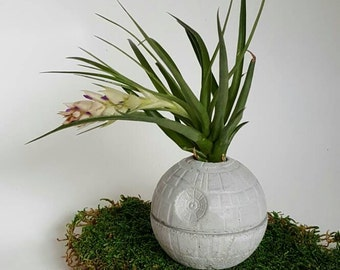 Small Death Star Concrete Planter-Air PLant Star Wars Office Decor