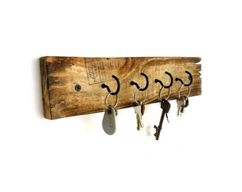 Rustic Key Hooks - reclaimed wood key holder rustic key hanger rustic wall hooks rustic key storage barn wood barnwood rustic wall decor