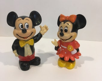 Vintage Mickey and Minnie Bank , Mickey Mouse Bank , Minnie Mouse Bank , Mickey and Minnie Figurines , Walt Disney , Money Bank , Coin Bank