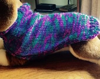 Hand knit jewel tone dog sweater