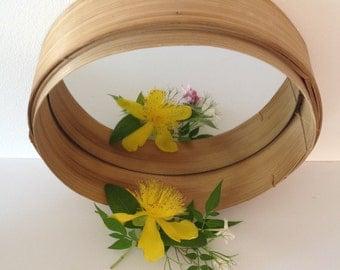 Round mirror bamboo