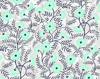 Cherry Mint - light grey floral vine by Clothworks