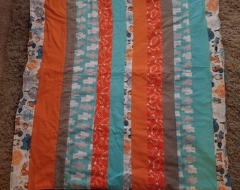 Orange and Blue Soft Flannel Baby Boy Blanket