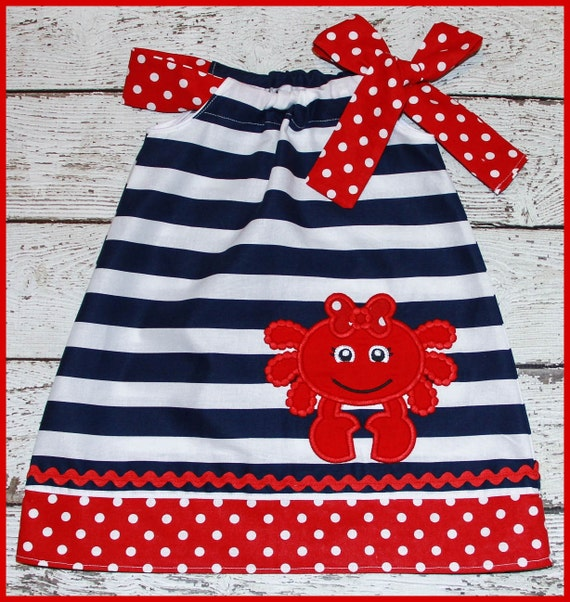 Super Cute Summer Nautical  Girly  Crab Pillowcase style dress Navy Stripe dress with red polka dot girl crab