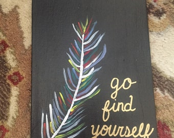 Small Feather Hand Painted Canvas