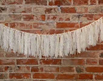 All Lace Fabric Garland [white, off white lace banner perfect for bridal showers, baby showers, weddings, photo session/booth backdrops]