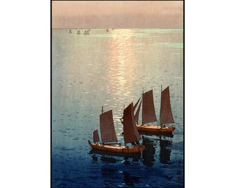 Sailboats Print - Vintage Boats Print - Sea Print - Seascape - Japanese Vintage - Woodcut Print - Ukiyo-e - Digital Download - Digital Print
