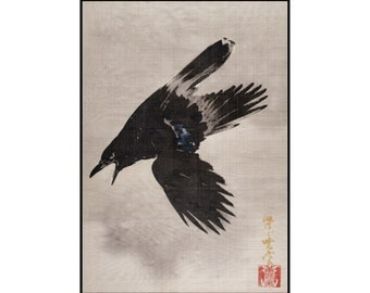 Crow Digital Print - Crow Print - Birds Vintage Print - Japanese Vintage Print - Japanese Art - Digital Download - Digital Print - Kyosai