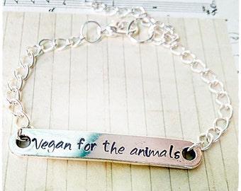 Veganism Bracelet Vegan for the animals Vegan Jewelry Animal Rights Custom Message Stamped Metal Handmade