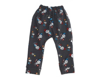 Gray Pants for newborn baby and toddler, infant knights hipster harem trousers, kids clothes