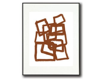 Modern Minimalist Abstract Art   Brown and White #5   Printable Art   Instant Download