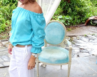 Tickle my belly top  - turquoise