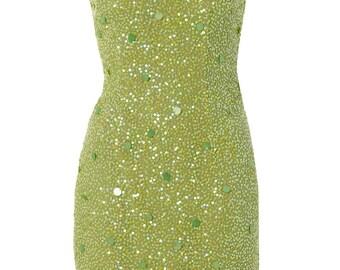 Green silk sequin one-shoulder dress - UK size 10