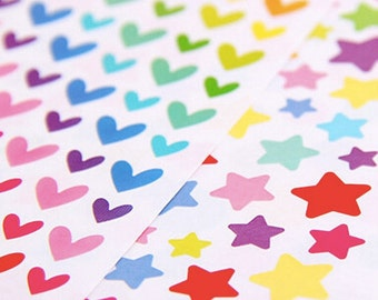 Multicolour cute kawaii hearts spots stars stickers decorations 6 sheets a pack!
