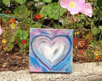 acrylic purple heart on canvas