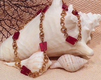"""Deep pink tumbled glass/bronze wire work/ 18""""necklace/lobster clasp"""