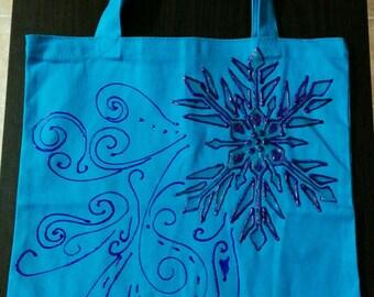 Blue Snowflake Tote Bag