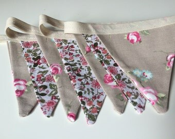 Beige and Pink Floral Bunting