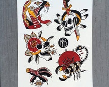 American Traditional Tattoo Flash Sheet