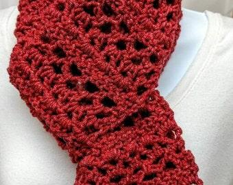 Medium Length Crocheted Deep Red Scarf
