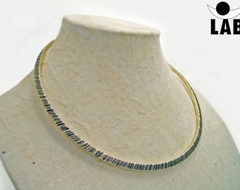Thin hammered brass necklace