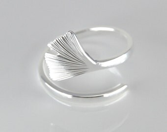 "Sterling Silber Ring ""Gingko"", Größe verstellbar"