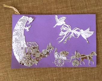 Blue/Purple Wedding Card with Silver Scene