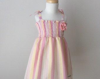 Girls Shirred Dress - Size 3, Girls Sundress, Girls Cotton Dress, Girls Summer Dress, Striped Dress, Elastic Dress, READY TO SHIP
