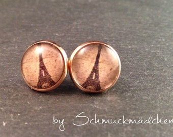 Earrings rose gold Eiffel Tower