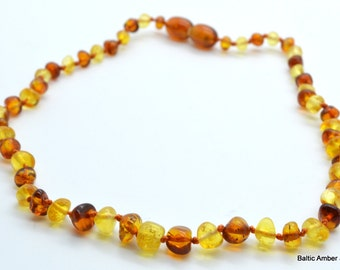 Children Natural Baltic Amber Necklace for teething, 33 cm, 7 grams