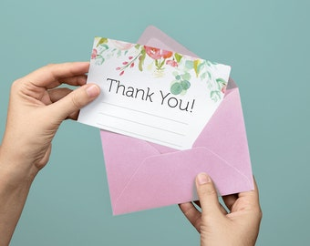 Floral Printable Thank You Card Stationery