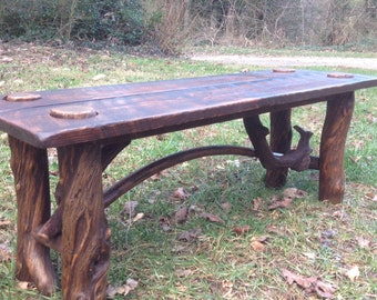 Rustic pine bench/coffee table with twisted legs, cabin lakeside decor, lodge style