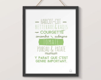 Displays vegetables, green tone, humorous creation, typography, poster kitchen