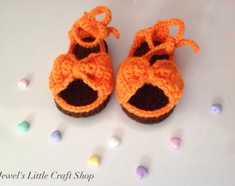 Chocolate Orange Baby Sandal Booties