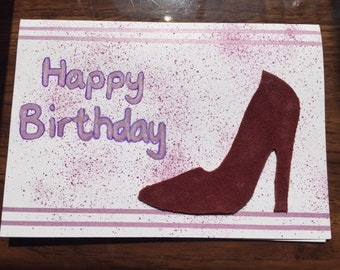 Birthday card with genuine suede shoe cut out