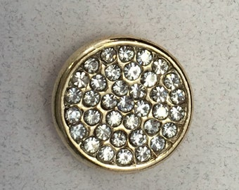 Sparkling Gold Rhinestone 20mm Snap for all Interchangeable Snap Jewlery