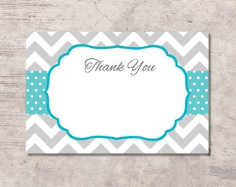 Blue and Gray Chevron Thank You Card Printable, blue dots, instant download digital file, boy neutral baby shower card birthday, thanks card
