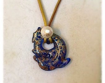 Free shipping Dolphin lampwork murano glass necklace