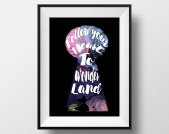 Alice in wonderland. wall art printable. digital download