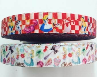 7/8 22mm Alice of Wonderland grosgrain ribbon