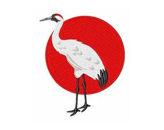 Crane And Sun - Machine Embroidery Design