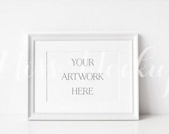 A4 DIGITAL White Frame Mockup (Landscape) - Stock Photo, Styled Photography, Mock up, prints, illustration, INSTANT DOWNLOAD
