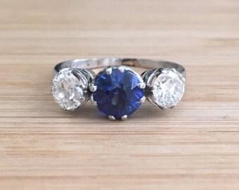 Art Deco Sapphire and Diamond Three Stone Platinum Engagement Ring 1.81ct