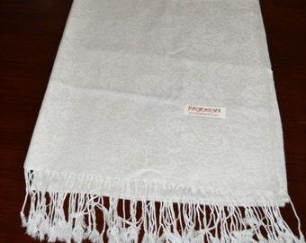 Tibetan Buddhist Pashmina and Silk White Meditation Shawl with Self Design / Free Shipping