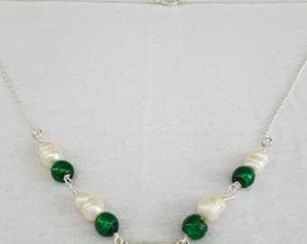Sparkling silver and emerald beaded necklace